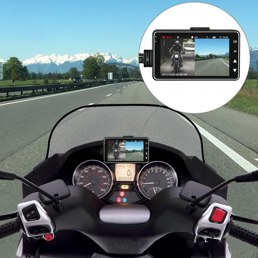 3 Inch Motorcycle Driving Video Recorder HD LCD with Front and Rear View Camera 140 Degree Wide Angle Support Night Vision