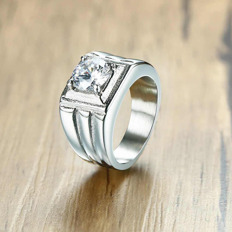 Vnox Для мужчин кольцо 316L Нержавеющая сталь ювелирные изделия обручальные кольца коготь Настройка большой камень не потерять