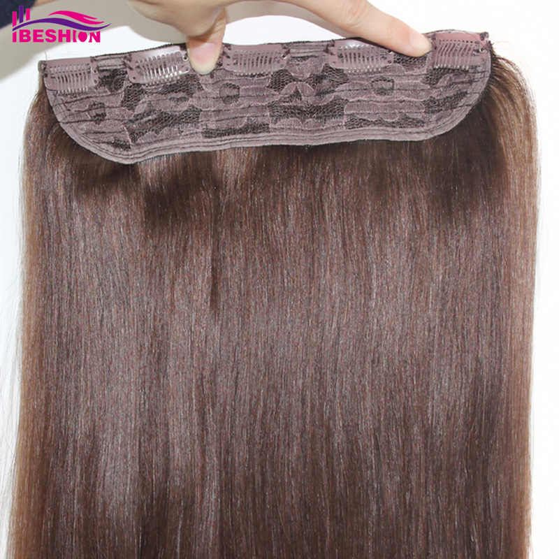 Forawme Hair Clip In Lace Hair Extensions Straight Brazilian Human