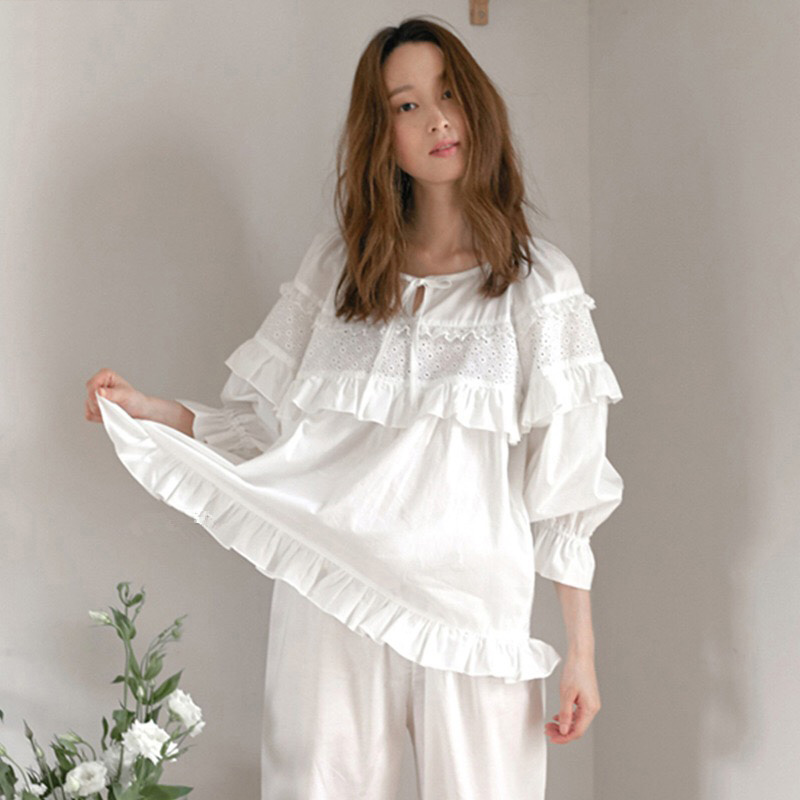 Autumn Winter Sexy Pajama Long Sleepwear Lingerie White Cotton Pyjamas Women Casual Nightwear Hot Pijima Adult Loungewear Pjima