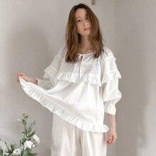 Pijama longo sexy feminino para outono e inverno, lingerie, pijamas de algodão branco, roupa de dormir casual, pijama adulto pjima