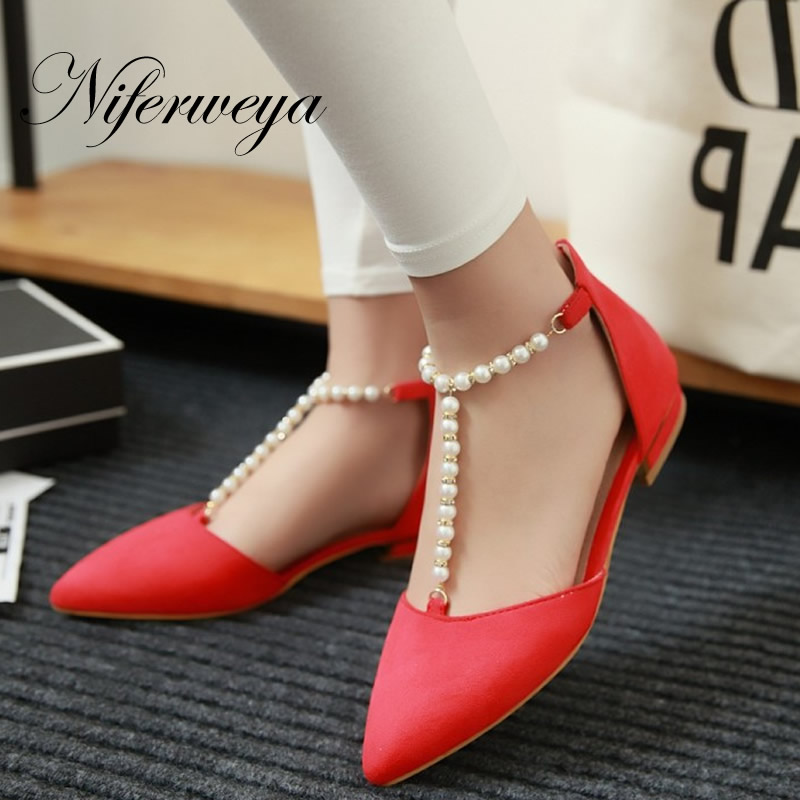 Big size 31-47 Spring/Autumn women shoes fashion suede Pointed Toe flats sweet beads decoration zipper flat shoes zapatos mujer spring autumn solid metal decoration flats shoes fashion women flock pointed toe buckle strap ballet flats size 35 40 k257