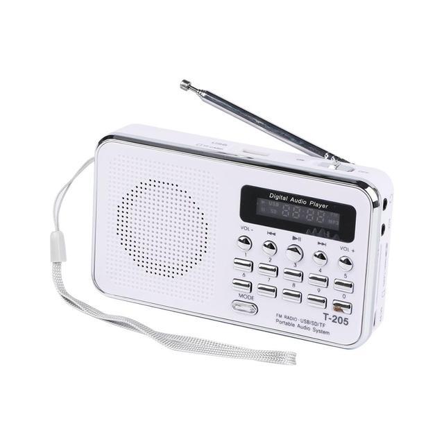 Mới T205 Di Động Màn Hình Hiển Thị LCD Kỹ Thuật Số FM Radio MP3 Người Chơi Loa Nghe Nhạc Mini Hỗ Trợ TF/SD Thẻ USB AUX đầu Vào Âm Thanh 3.5Mm FS