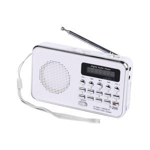 Image 1 - Новый T205 Портативный ЖК дисплей цифровой fm радио mp3 плеер мини музыкальный динамик Поддержка TF/SD карты USB AUX аудио вход 3,5 мм FS