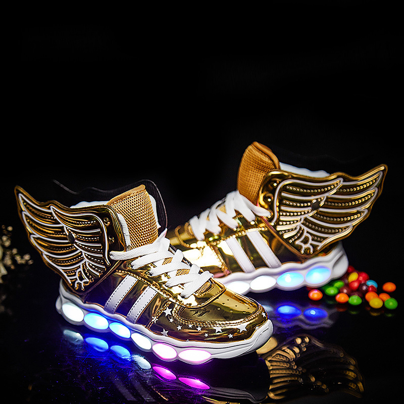 2018 Children Shoes Light Led luminous Shoes Boys Girls USB Charging Sport Shoes Casual Led Shoes usb Wing Kids gold Sneakers children usb charger luminous shoes lace boys girls led light sneakers fashion kids night show casual shoes brand