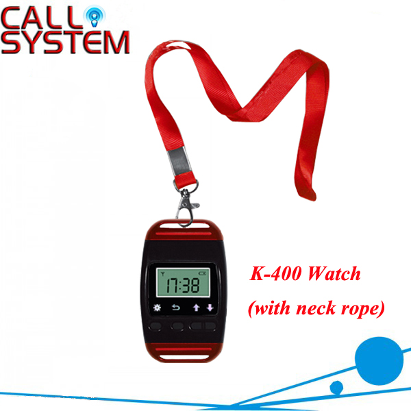 Wireless Service Calling System Receiver/Watch K-400 show 3 calling number one time wireless service call bell system popular in restaurant ce passed 433 92mhz full equipment watch pager 1 watch 7 call button