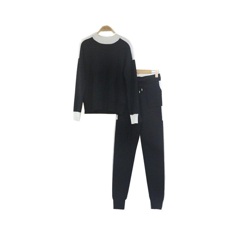 Femmes Ensemble Tenues 2019 Cordon Haut Kaki Et Pantalons cou Tricot De Mode noir Décontracté Pièces D'o Fibre Cachemire Plein Deux Laine Bambou beige 8q4pPZ8