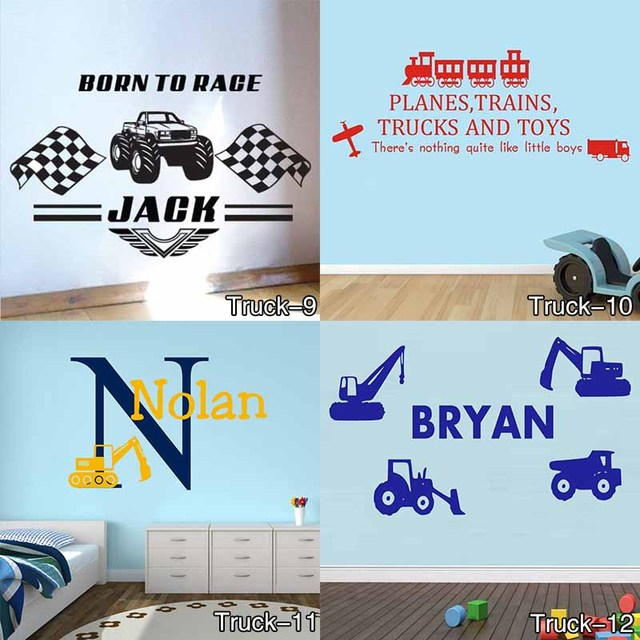 Personalised Name Construction Diggers Vinyl Wall Art Sticker Decal Childrens Farm Trucks Cars Wall Decals Mural  sc 1 st  AliExpress.com & Personalised Name Construction Diggers Vinyl Wall Art Sticker Decal ...