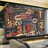 Large English Alphabets 5D Papel Murals 3d Wood Wallpaper Murals 3D Photo Mural Wall Paper For