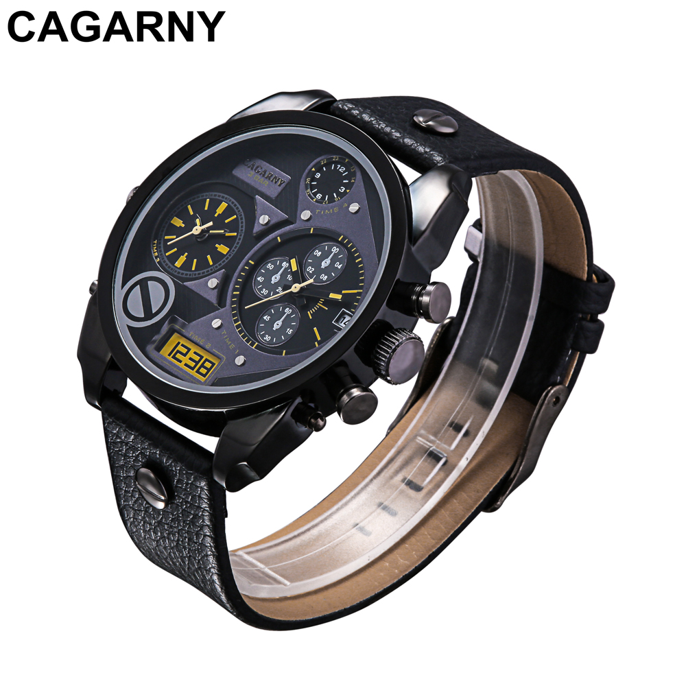 mens military watches army rose gold case black leather strap sports watches dual time zones large dial male clock for brave men free shipping (13)