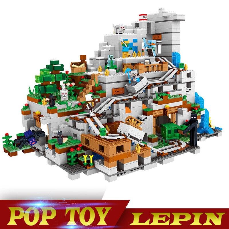 В наличии Лепин 18032 блоки кирпичи механизм 3043 шт. Mountain Cave My миров Совместимость с legoed21137 рождественские подарки