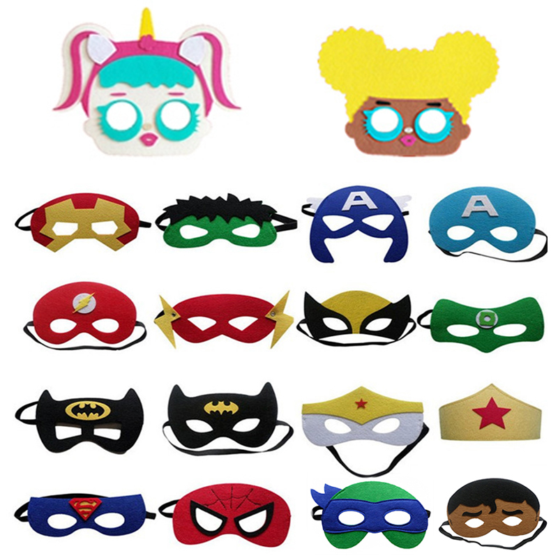 Superhero Cosplay Mask Halloween Party Hulk Wonder Woman Iron Man Dress Up  Mask Kids Birthday Party Superhero Holiday Surprise