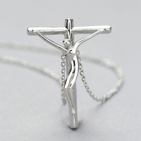 L&P 925 Sterling Silver Cross Pendant Necklace Prayer Christ Women Jewelry for Wholesale freeshipping
