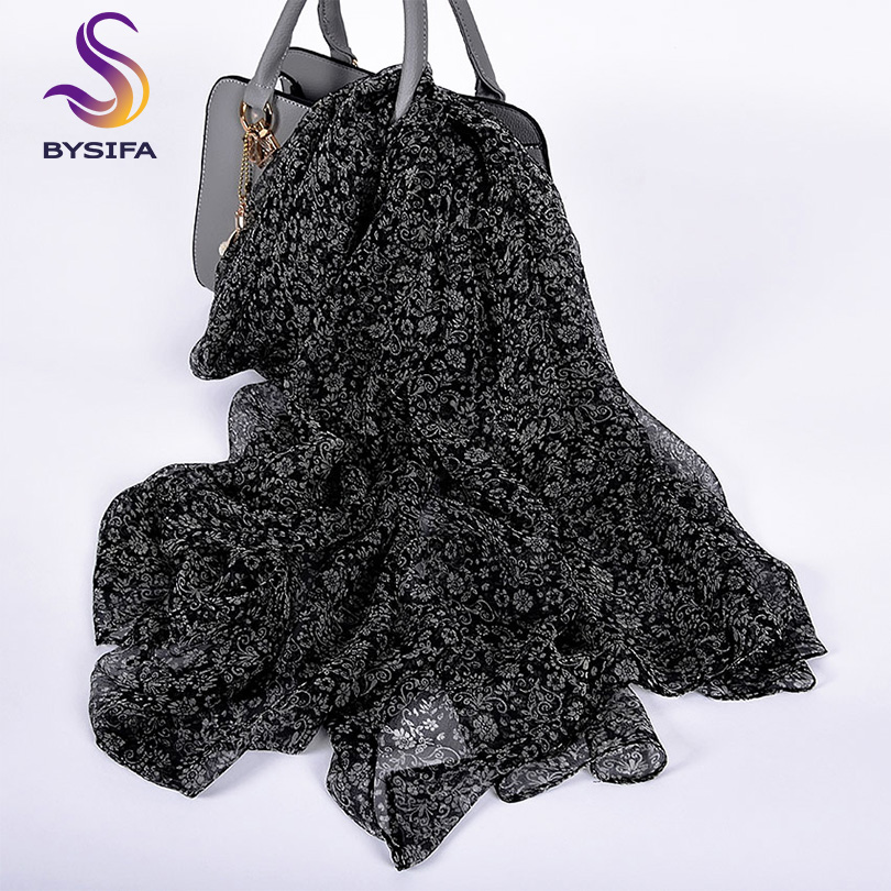 [BYSIFA] Ladies Black White Florals   Scarves   Echarpe Summer Beach Shawl Cover-up Bufand Fall Winter Brand Long Neck   Scarves     Wraps