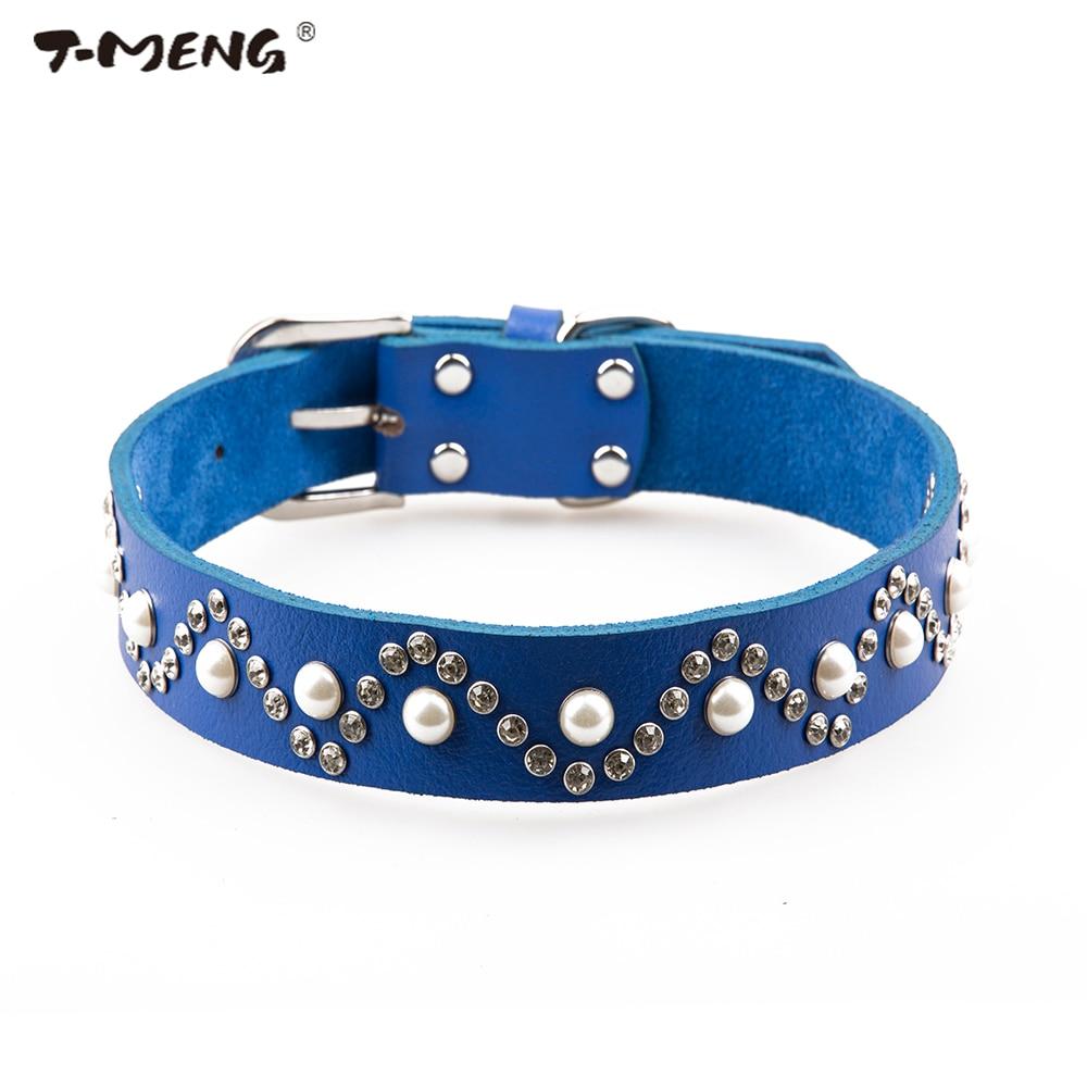 T-MENG Marke Echtes Leder Hundehalsband Blei Schmuck Perlen und - Haustier-Produkte