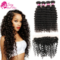 Brazilian Deep Wave With Frontal Closure Ear To Ear Lace Frontal Closure With Bundle Deep Sassy Brazillian Hair With Closure
