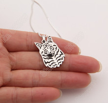 1pcs Maine Coon Necklace 3D Cut Out Puppy Dog Lover Pendant Memorial Necklaces & Pendants Christmas Gift 3084 Lead Free