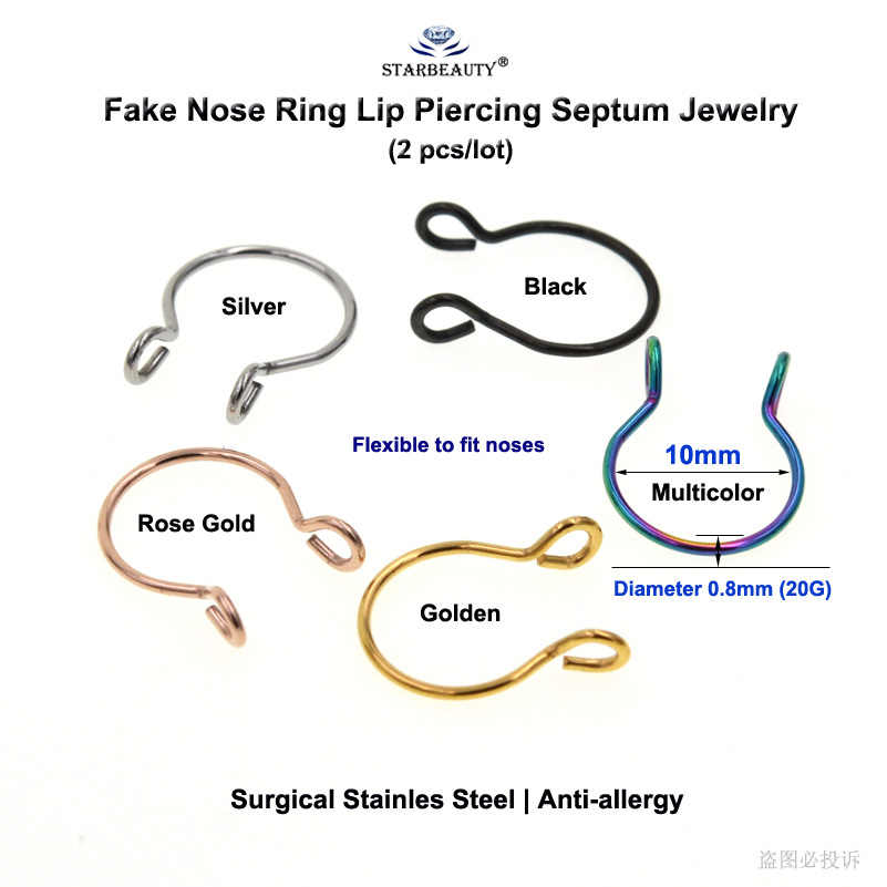 Топ 2 шт. 20G гибкий U кольцо в нос имитация обруч филигранные кольца Нержавеющаясталь нос имитация пирсинга пирсинг ореха пирсинг, ювелирные издели для тела