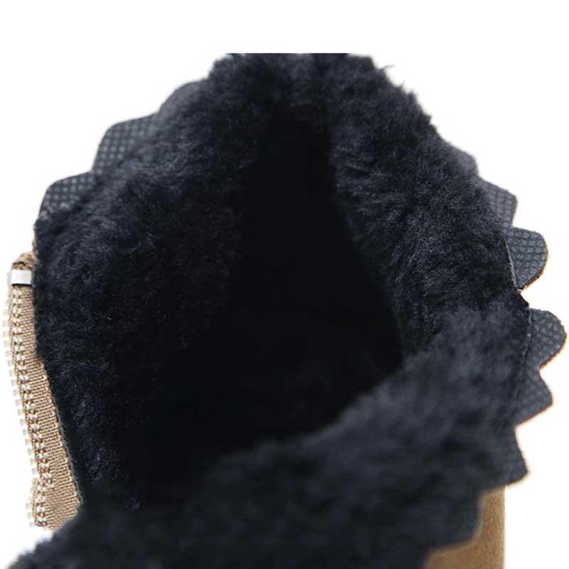 Talon Chaussures Femmes Chaud brown Arc Black Neige Dentelle Botas Cuir Des Dames D'hiver En Slip Daim Bottes noeud Non Mujer Cheville uFcJlK13T