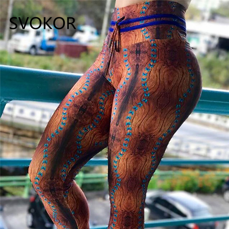 SVOKOR Printed Leggings Women For Fitness Polyester Ankle-Length Push Up Jeggings Butterfly Fashion Pants For Women Summer