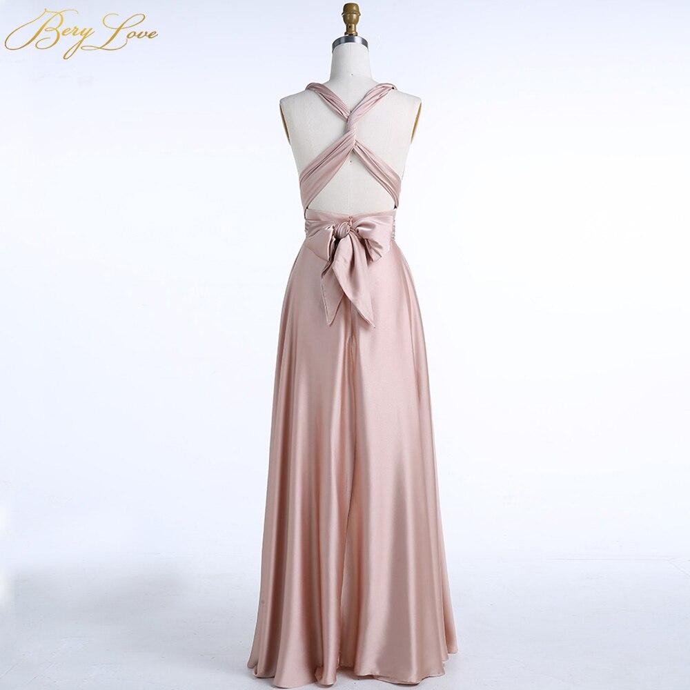 BeryLove longue robe de soirée Champagne 2019 bretelles entrecroisées pli Simple Satin robe grande taille plaine femmes formelle robe de bal - 5