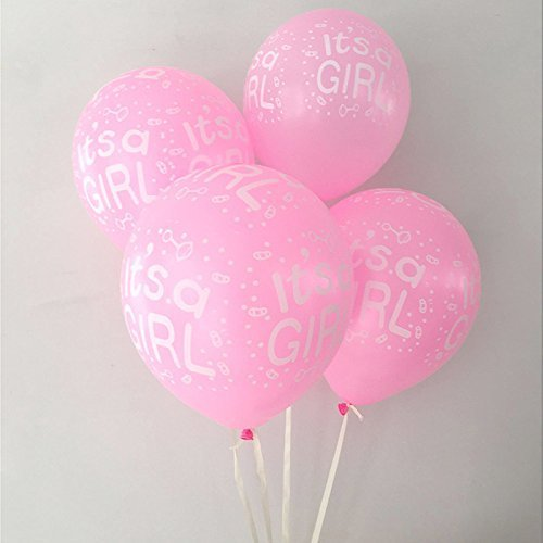 3602c696d Gender Reveal Balloon 12pcs12'' Premium Latex Balloon It'S A Girl Printed -  Pink (Pack Of 30) for Baby Shower Party Baby Baptism