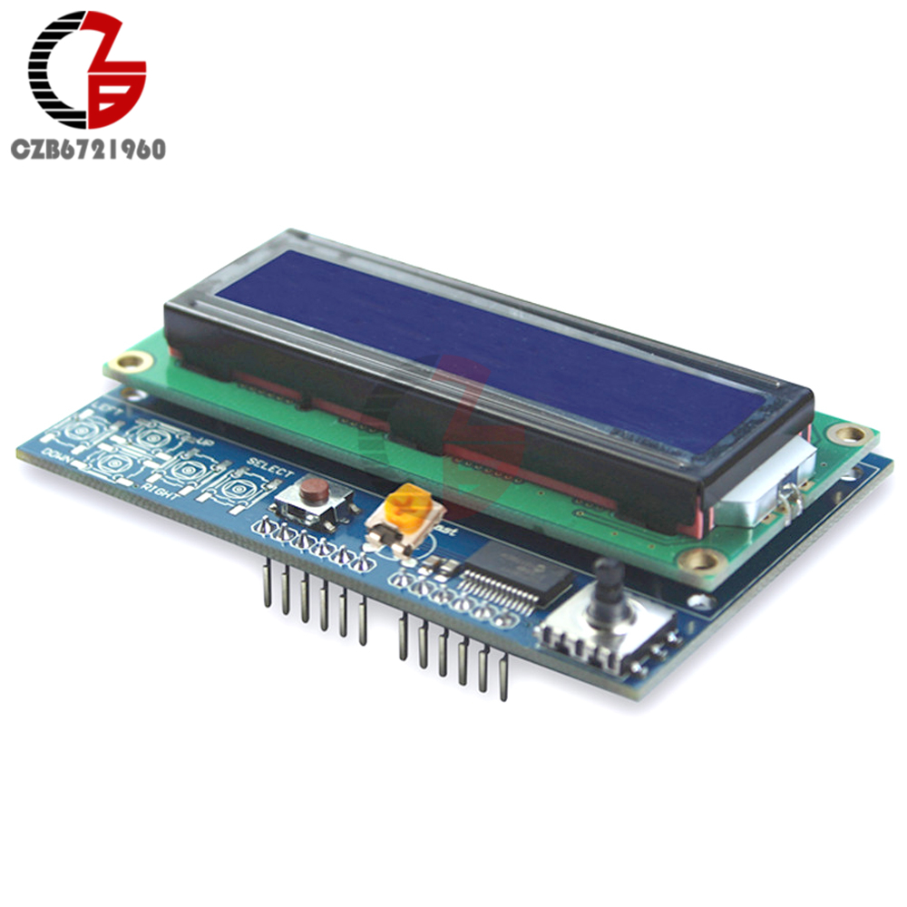 Brightness Adjustable 1602 LCD Module Shiled IIC I2C MCP23017 5 Keypad Development Board for Arduino UNO R3 DIY