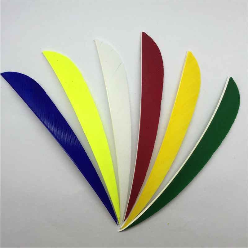 100 pcs 5 inch Water Drop for Peru 12 high quality colour real feathers feathers vane arrow archery in Bow Arrow from Sports Entertainment