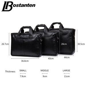 Image 2 - Bostanten 2019 nouvelle mode en cuir véritable hommes sac célèbre marque sac à bandoulière Messenger sacs casual sac à main sacoche pour ordinateur portable homme
