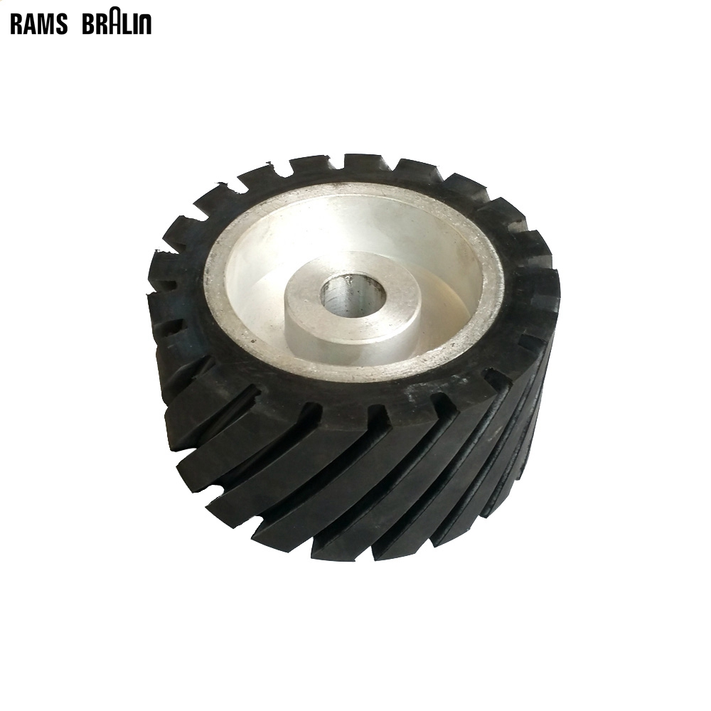 150*75*25mm Serrated Rubber Contact Wheel Dynamically Balanced Belt Sander Polisher Wheel Sanding  Belt Set 300 50mm flat belt grinder contact wheel dynamically balanced rubber polishing wheel abrasive sanding belt set