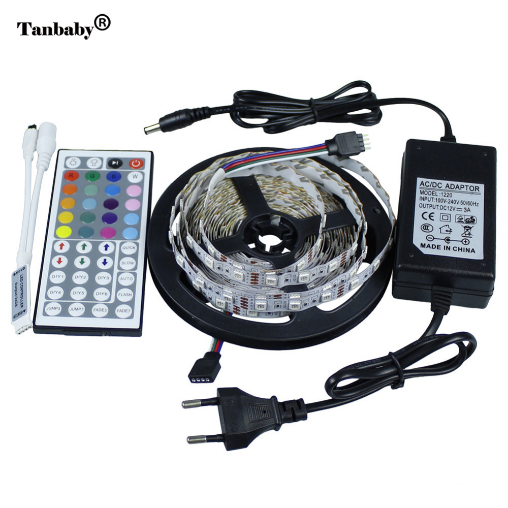 Tanbaby LED Strip 5050 LED SMD Light 5M 300 Led DC12V + 44Key RGB - LED-belysning