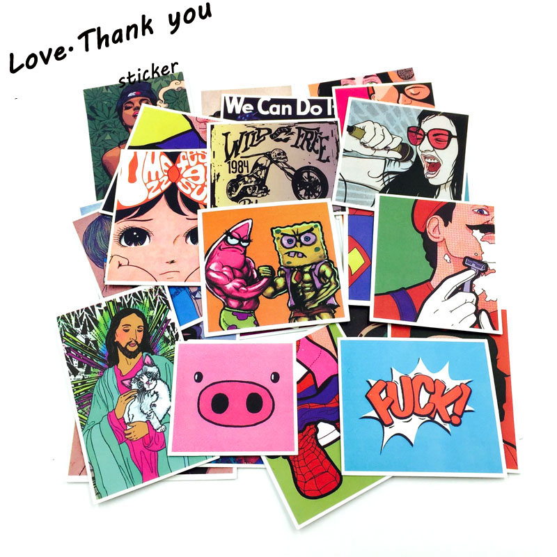 300 Pcs Mixed Emoji Stickers For Children Anime Funny Cartoon Stickers Home Decor Wall Car Skateboard