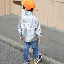 Chaqueta de cuero para niños 2019, Sudadera con capucha de béisbol, abrigo de plata reflectante de manga larga, rompevientos para 2 4 6 8 años