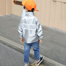 Children Boys Leather Jacket 2019 Baseball Hoodies Coat Reflective Silver Long Sleeve Outerwear Windbreaker for 2 4 6 8 Years