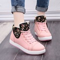 40 high top canvas shoes winter 2016 new flower fur warm snow boots girl winter shoes