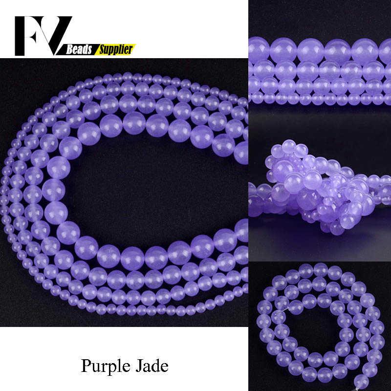4 6 8 10 12mm okrągły fioletowy Jades koraliki kamień naturalny klejnot koraliki do tworzenia biżuterii Diy bransoletki biżuteria akcesoria do rękodzieła