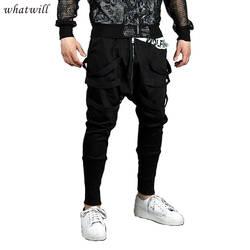 Ультрамодный 2017 мужские брюки в стиле хип-хоп комбинезон Повседневная вреда Штаны свободные мужские Панталоны Мода бегунов Брюки