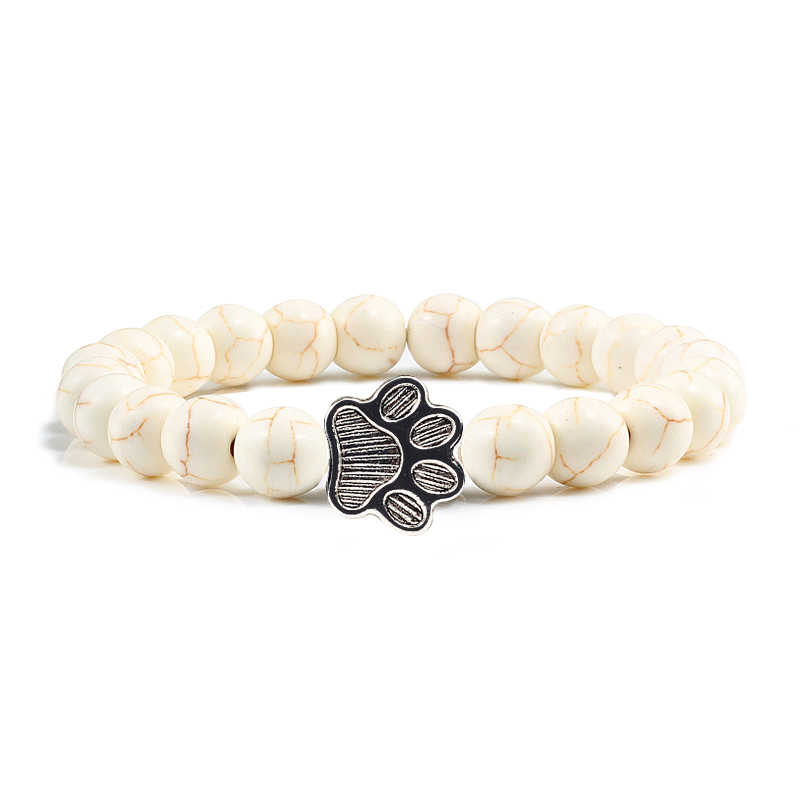 Natural Matte Black Lava Volcanic Stone Paw Print Charm Bracelet Homme Femme Pet Memorial Cat Dog Lovers Jewelry Bracelets Gifts 2