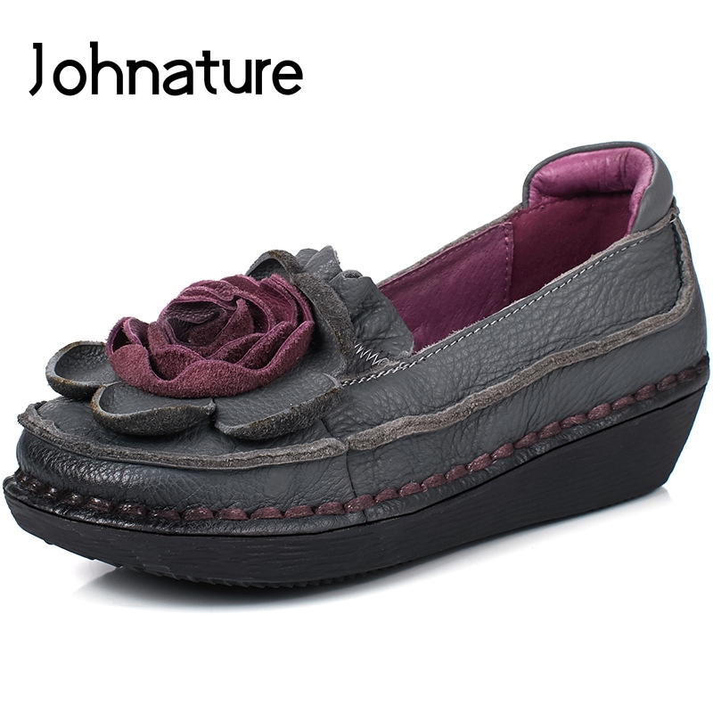 Johnature 2019 New Spring Autumn Genuine Leather Round Toe Casual Retro Floral Sewing Shallow Slip on