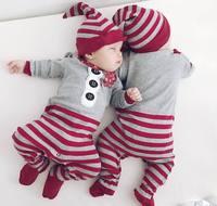 Детская одежда Рождественский комбинезон с длинным рукавом комбинезон с круглым вырезом + шляпа 2 шт. комплект теплая Симпатичная Одежда дл