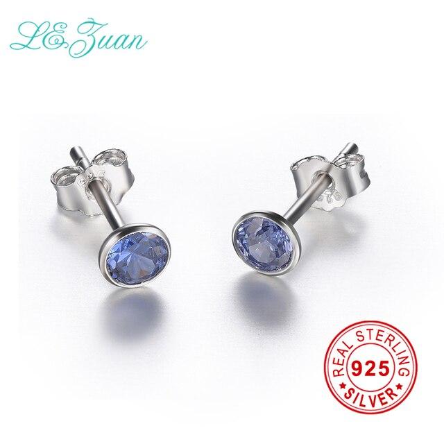 L&zuan 925 Sterling Silver Jewelry Blue Earrings Natural Tanzanite Silver Gemsto