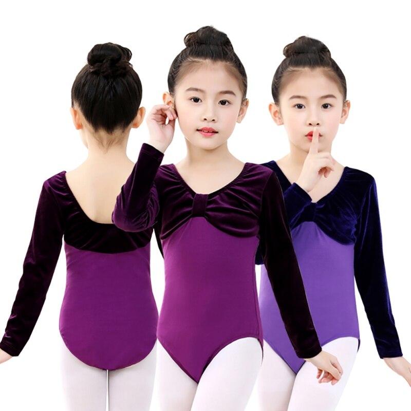 Gymnastics suits children dance practice clothes girls Latin ethnic dance examination clothing long sleeve cotton gold velvet