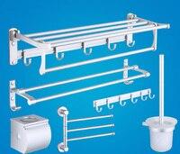 Space aluminum Bathroom shelf holder rack with single lever bathroom Households paper racks towel shelves toilet brush hooks