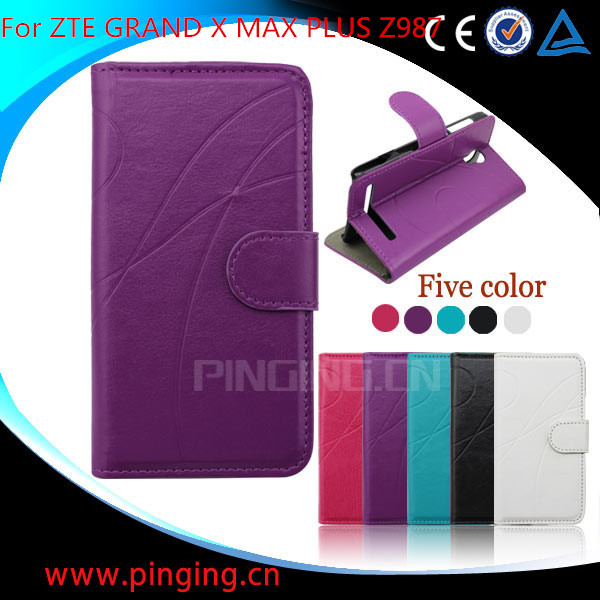 For ZTE GRAND X MAX PLUS Z987 Wallet Leather Flip Case With Fashion Line Design Stand Phone Case Cover BY Free DHL (XKM)