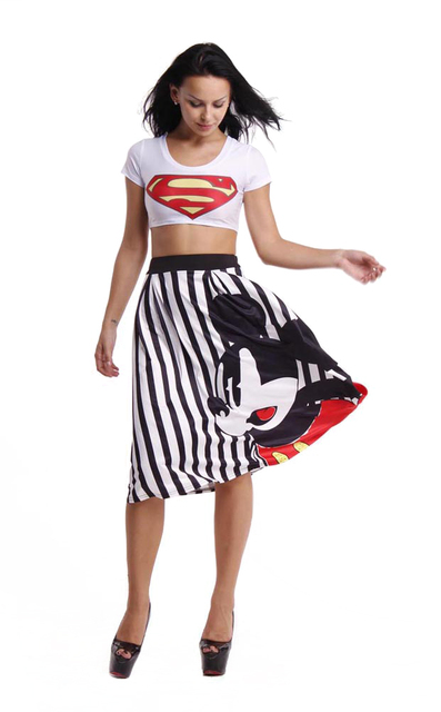 New 2016 Women's Mickey Print Black White Striped Midi Skirt Ladies High Waist A-line Large Swing Fashion Causal Skirts