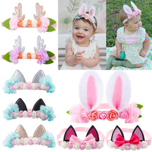 POP Elastic Baby Headdress Kids Hair Band Girls Bow Flower headwear Newborn Party Headband For 0-6T