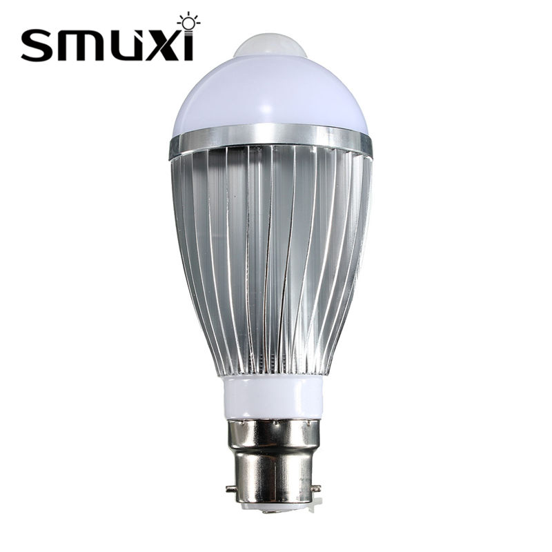 Smuxi PIR Sensor Lamp Bulb LED Light B22 5730SMD 5W/7W/9W Motion Infrared Sensor Detection Spotlight Bulb Lighting AC85-265V b22 5 7 9w 5730 smd auto smart motion pir infrared sensor body lamp detection led light lamp bulb pure warm white 85 265v