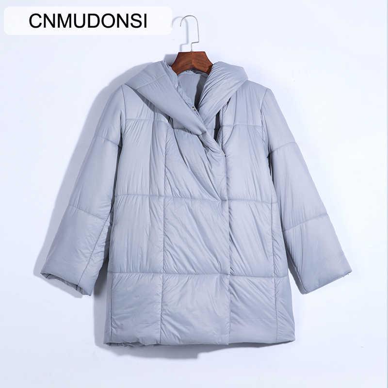 Veste hiver femme grande taille 2019 manteau Parker femme epaissir veste couleur unie manteau à capuche court femme Slim coton trouvé