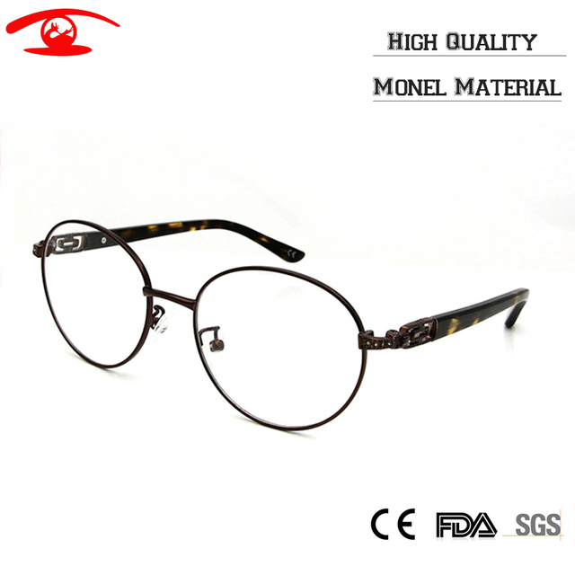 (5pcs/lot) Vintage Eyewear Wholesale Women's Fashion Eyeglasses Frame Monel Material Diamond Desgin Round Retro Eyewear Frames
