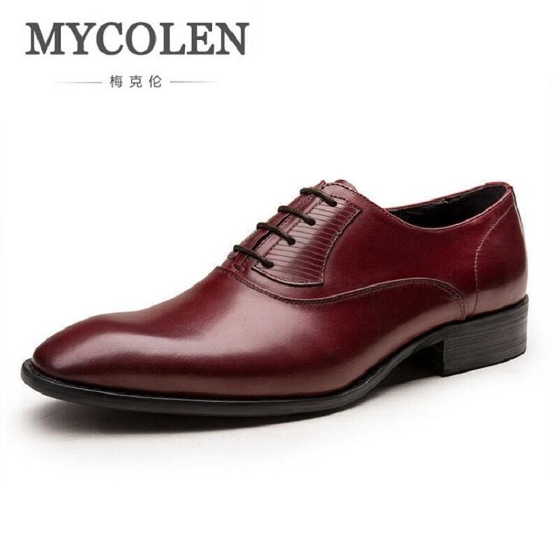 MYCOLEN Business Formal Men Dress Shoes Black Men's Square Toe Oxfords Shoes Wedding Lace up Flats Tenis Masculino Adulto good quality men genuine leather shoes lace up men s oxfords flats wedding black brown formal shoes